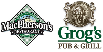 This year's PRESENTING SPONSORS are Grog's Pub & Grill and MacPherson's Restaurant