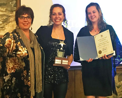Chamber Past President Mary-Jo Schottroof-Snopko presents the Entrepreneur of the Year Award to Laura Rideout and Shannon Shurgold of Culture Shock Kombucha